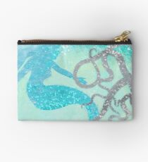 Friends, mermaid and octopus under the sea coastal art Studio Pouch