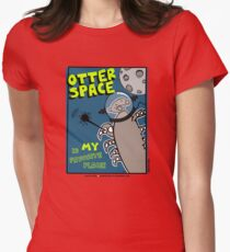 Octo Otter Space Comic Robot Super Hero Design Womens Fitted T-Shirt