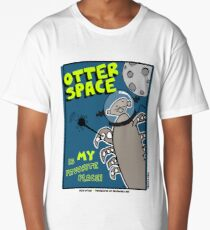 Octo Otter Space Comic Robot Super Hero Design Long T-Shirt