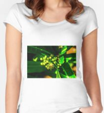 Green Nature Print Women's Fitted Scoop T-Shirt