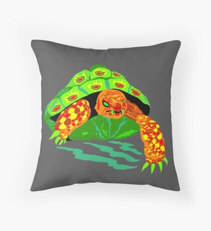 The Creeping Menace Terrifying Turtle Throw Pillow