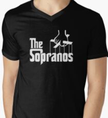 The Sopranos Logo (The Godfather mashup) (White) Men's V-Neck T-Shirt
