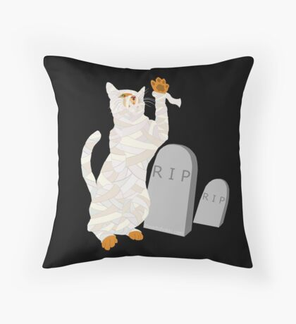 Giant Mummy Cat Monster Cute Horror Cartoon Throw Pillow