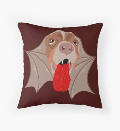 Bat Dog! Vampire Puppy Cartoon Monster Throw Pillow