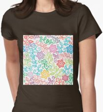 Colorful Floral Doodles Womens Fitted T-Shirt