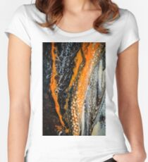 Black, white, orange and gold abstract art Women's Fitted Scoop T-Shirt