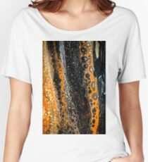 Abstract black gold orange Women's Relaxed Fit T-Shirt