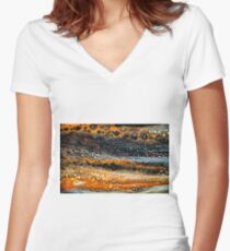 Abstract paint lace gemstone Women's Fitted V-Neck T-Shirt