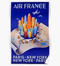 AIR FRANCE - Paris New York Paris Poster