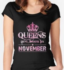 Queens November T-Shirt For Women. Queens Are Born In November Women's Fitted Scoop T-Shirt