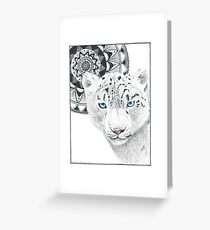 Snow Leopard and Mandala Greeting Card