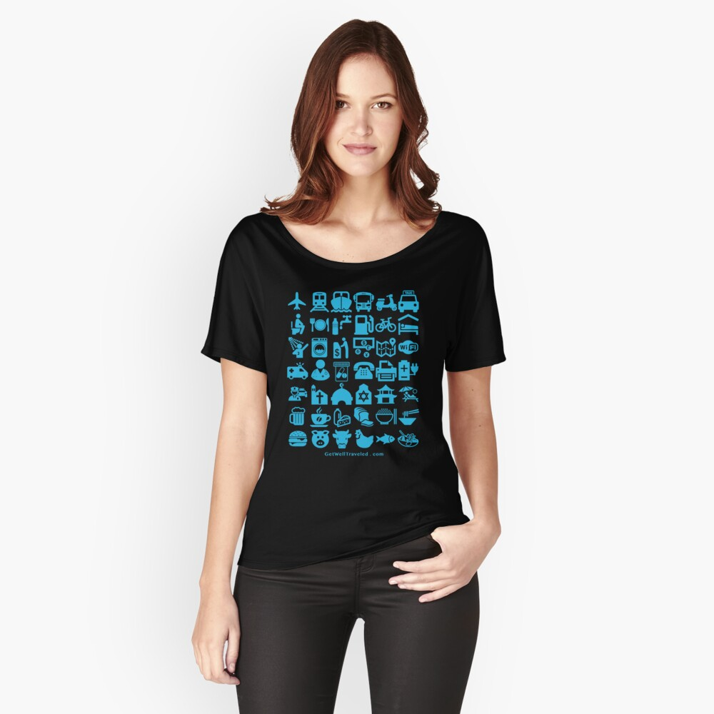 Medical Tourism Health Travel Icons (Blue) Women's Relaxed Fit T-Shirt Front