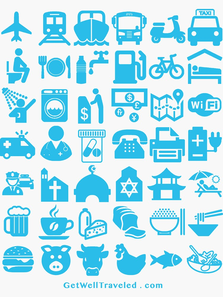 Medical Tourism Health Travel Icons (Blue) by welltraveled