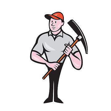 Construction Worker Holding Pickaxe Cartoon by patrimonio