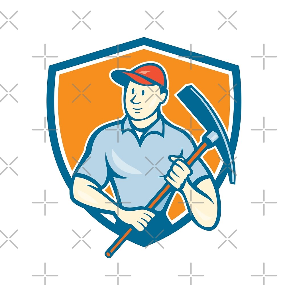 Construction Worker Holding Pickaxe Shield Cartoon by patrimonio