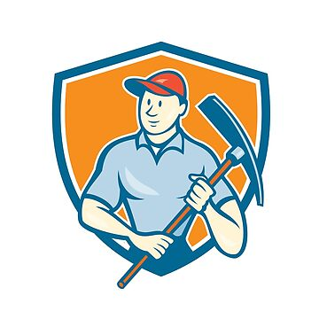 Construction Worker Holding Pickaxe Shield Cartoon by patrimonio