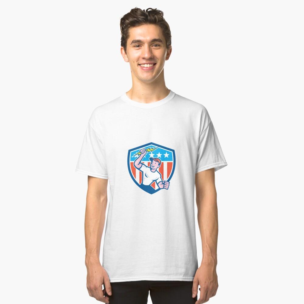 Electrician Lightning Bolt USA Flag Cartoon Classic T-Shirt Front