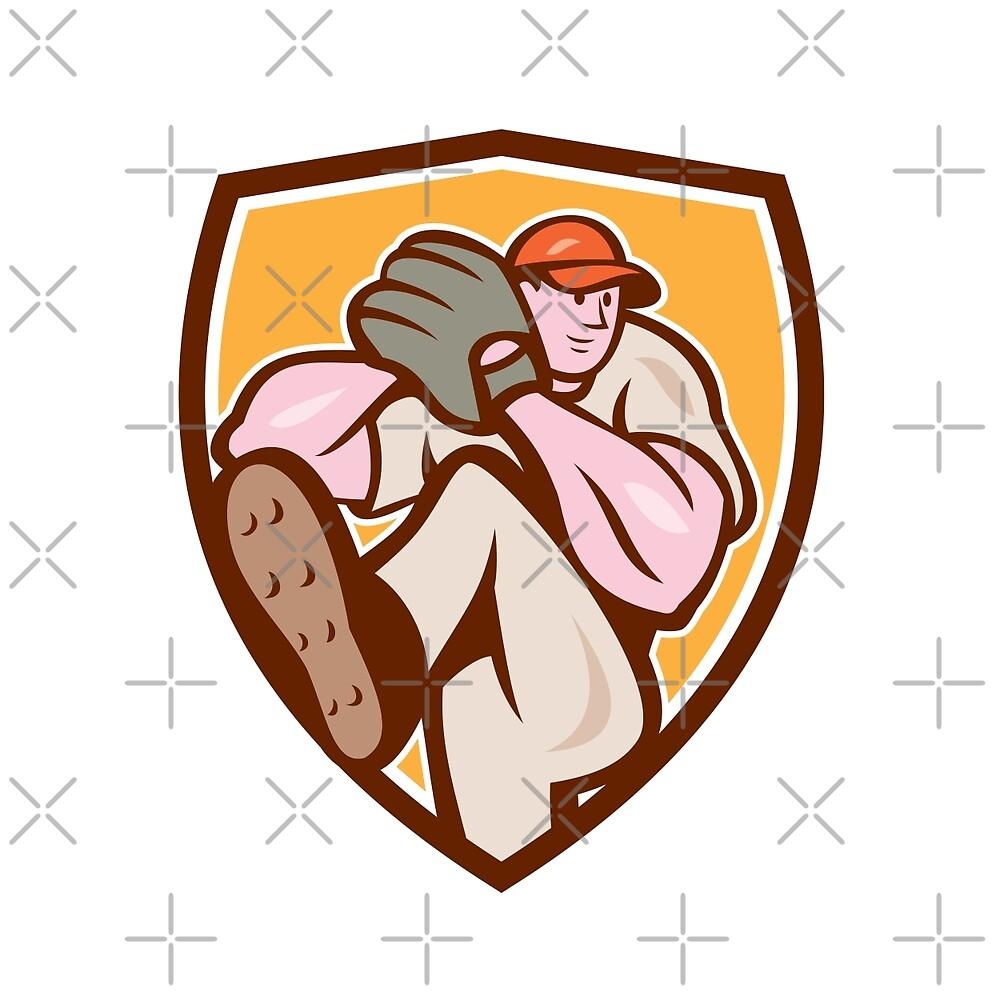 Baseball Pitcher Outfielder Leg Up Shield Cartoon by patrimonio