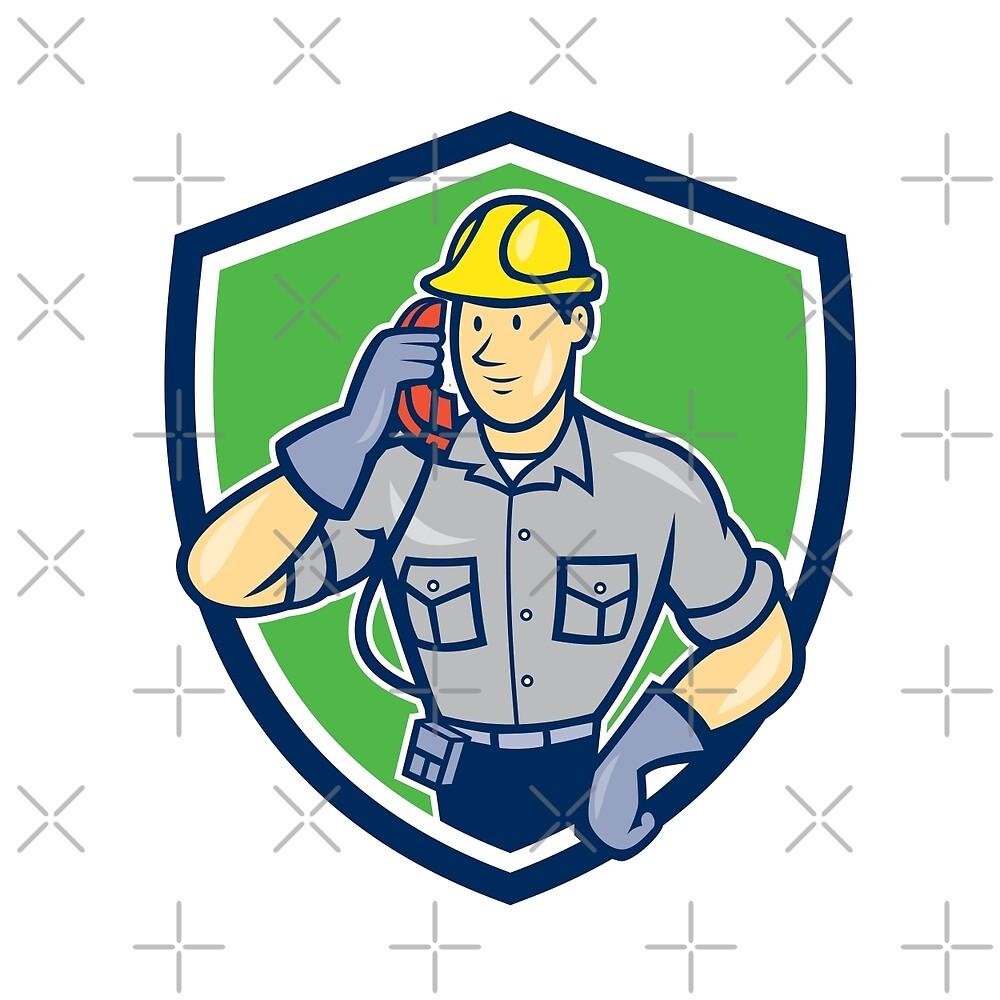 Telephone Repairman Phone Shield Cartoon  by patrimonio