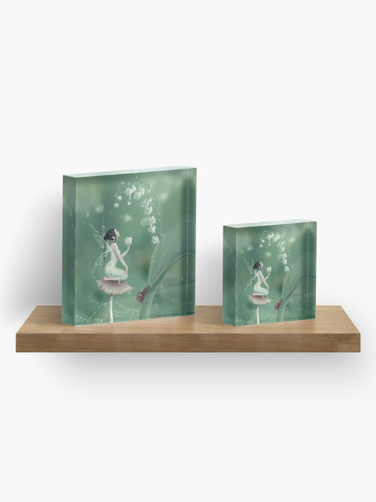 Alternate view of Lily of the Valley Flower Fairy Acrylic Block
