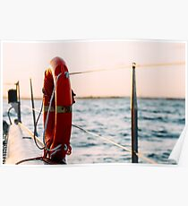Red Life Buoy On Cruise Ship Poster