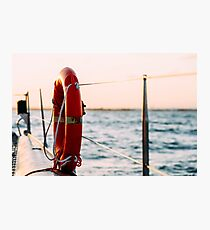 Red Life Buoy On Cruise Ship Photographic Print