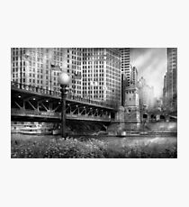 Chicago, IL - DuSable Bridge built in 1920  - BW Photographic Print
