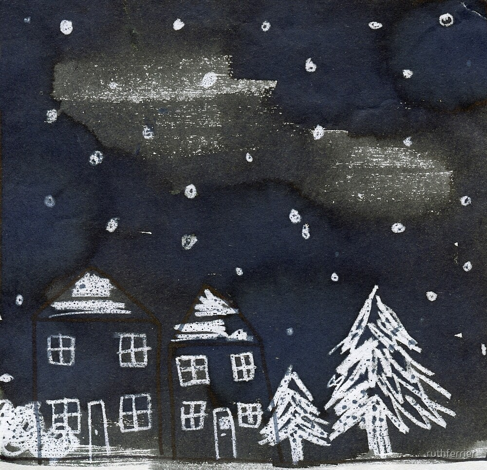 Snowing Christmas Village by ruthferrier
