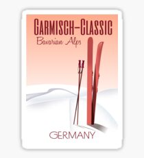 Garmisch Classic,Bavarian Alps Ski poster Sticker