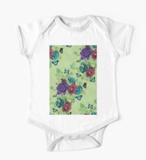 Roses and Butterflies Ornament on Green One Piece - Short Sleeve