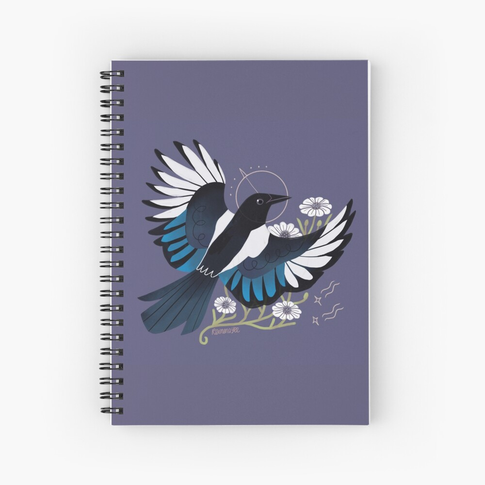 Familiar - European Magpie Spiral Notebook