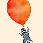 Raccoon and orange balloon by Ruta Dumalakaite
