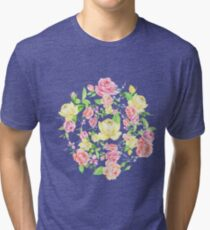 Bouquet of PINK, RED and YELLOW rose - wreath Tri-blend T-Shirt