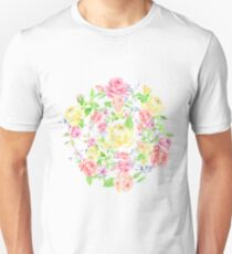 Bouquet of PINK, RED and YELLOW rose - wreath Unisex T-Shirt