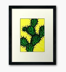 Chinese brush painting - Opuntia cactus. Framed Print
