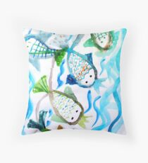 COLOR FISH Throw Pillow