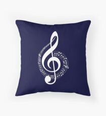 Musical Notes Navy Blue Throw Pillow