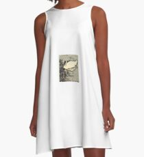 Japanese art print swan A-Line Dress