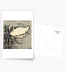 Japanese art print swan Postcards
