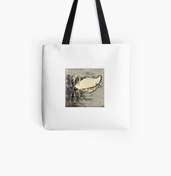 Japanese art print swan All Over Print Tote Bag