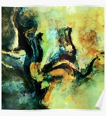Green and Yellow Abstract Painting / Surrealist Art Poster