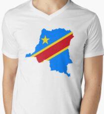 Flag of the Democratic Republic of Congo Men's V-Neck T-Shirt