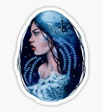 Siren - Mermaid Watercolour Double Exposure Painting Sticker