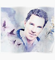 Benedict Cumberbatch - watercolour with flowers Poster