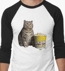 popcorn cat Men's Baseball ¾ T-Shirt