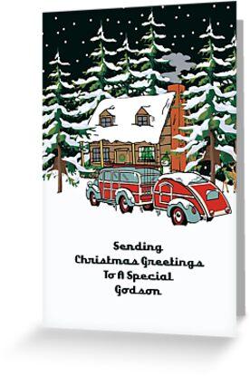 Godson Sending Christmas Greetings Card by Gear4Gearheads