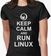 Keep Calm and Run Linux - Funny White Design for Computer Geeks Womens Fitted T-Shirt