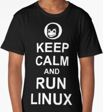 Keep Calm and Run Linux - Funny White Design for Computer Geeks Long T-Shirt