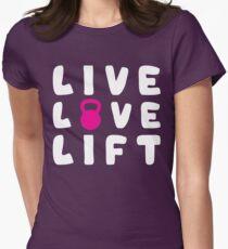 LIVE, LOVE, LIFT - Kettlebell Womens Fitted T-Shirt