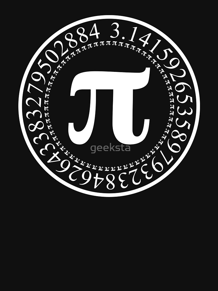 Pi Circular Digits - White Text Design for Math and Science Geeks/Nerds by geeksta